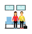 people sitting on chairs and holding queue number vector image