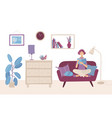 a woman is sitting on sofa and reading book vector image vector image