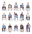 adults and children sitting on chairs set vector image