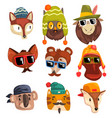 animals wearing hipster hats and sunglasses vector image vector image