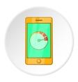 Battery indicator on phone icon cartoon style vector image