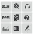black dj icons set vector image vector image