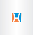 blue orange square logo letter h icon vector image vector image