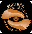 boutique signboard composed as circle with two vector image