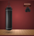 boxing poster with gloves and punching bag vector image