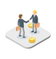 business handshake concept two isometric vector image