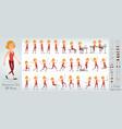cartoon cute sport girl character big set vector image vector image