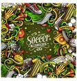 cartoon doodles soccer frame vector image