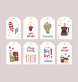 collection of birthday labels or tags with bouquet vector image