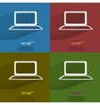 Color set Notebook Flat modern web button with vector image