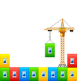construction crane with wall colorful house vector image vector image