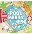 creative postcard inviting for pool party vector image
