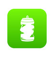 crumpled aluminum cans icon digital green vector image vector image
