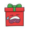 crying present christmas gift box cartoon vector image vector image