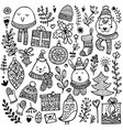 cute doodle christmas background vector image vector image