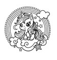 cute little unicorn black and white vector image vector image