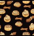 delicious cinnamon buns and cinnamon sticks vector image
