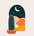 desert abstract landscape at night vector image vector image