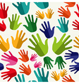 Diversity human hands seamless pattern vector image