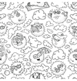 doodle summer seamless pattern with sun vector image vector image