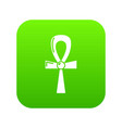 egyptian ankh icon green vector image vector image