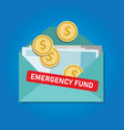 emergency fund money coins in envelope saved vector image vector image
