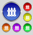 Fence icon sign Round symbol on bright colourful vector image