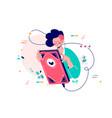 girl using giant smartphone vector image