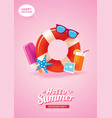 hello summer card banner with life ring vector image