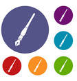 ink pen icons set vector image vector image