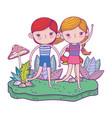 little kids in garden characters vector image vector image