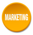 marketing orange round flat isolated push button vector image vector image