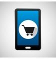 mobile phone app shopping car vector image
