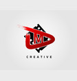 movie play letter m logo design concept template vector image vector image