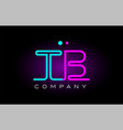 neon lights alphabet tb t b letter logo icon vector image vector image
