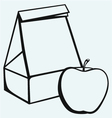 Paper bag and apple vector image vector image