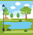 park landscape with lake scene vector image