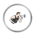 Personal trainer icon in cartoon style isolated on