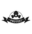 protester gas mask logo simple black style vector image vector image