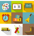 school time icon set flat style vector image vector image
