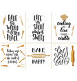 set of bakery lettering posters greeting cards vector image vector image