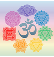 Set of seven chakras and symbol OM in the centre vector image vector image