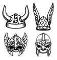 set of viking helmets isolated on white vector image vector image