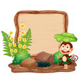 sign template with animals in garden background vector image vector image