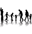 Silhouettes of parents with kids in the park vector image vector image