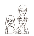 sketch contour caricature half body family with vector image vector image