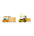 smart logistic automatic and man-driven forklift vector image
