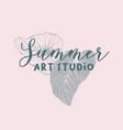 summer art school classes logo design vector image vector image