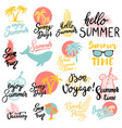 summer emblems set hand drawn lettering vector image vector image