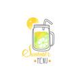 summer menu logo badge for vegetarian restaurant vector image vector image
